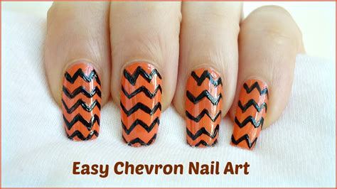 easy nail art chevron easy chevron nail art freehand diy youtube