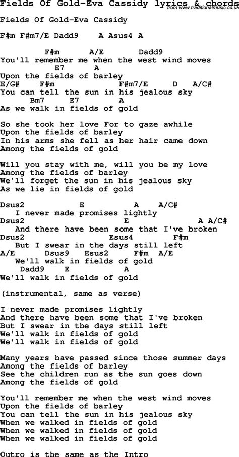 Love Song Lyrics for: Fields Of Gold-Eva Cassidy with