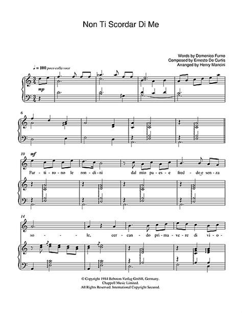 non ti scordar di me sheet by luciano pavarotti piano vocal guitar 39259