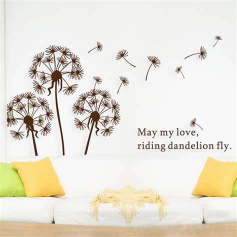 Murals On Wall design flower decorative wall decal white dandelion flying