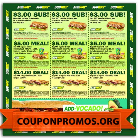 printable subway coupons subway coupons free resume cv bu tarz benim