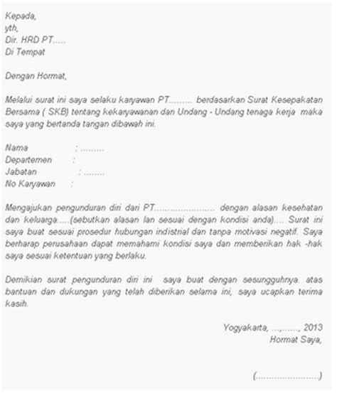 kumpulan contoh surat pengunduran diri kabar dunia