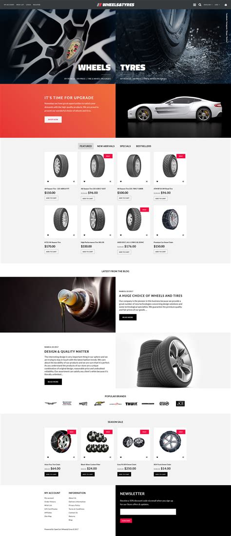 Wheels Tyres Responsive Opencart Template Tyre Website Template Free