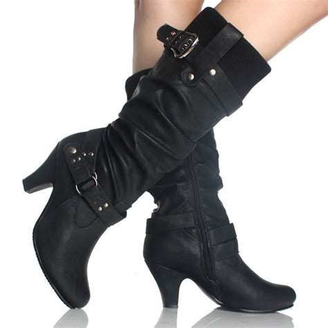 high heel buckle boots black slouch boots sweater knit steunk buckle womens