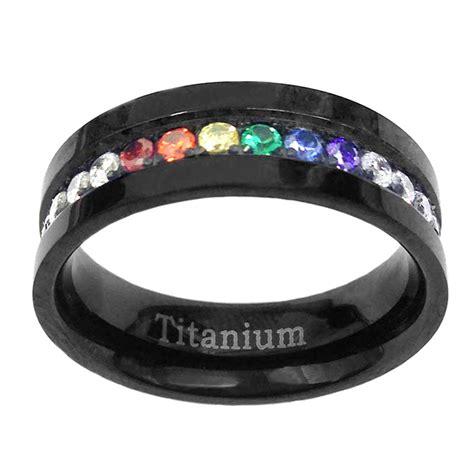6mm black titanium unisex pride wedding band