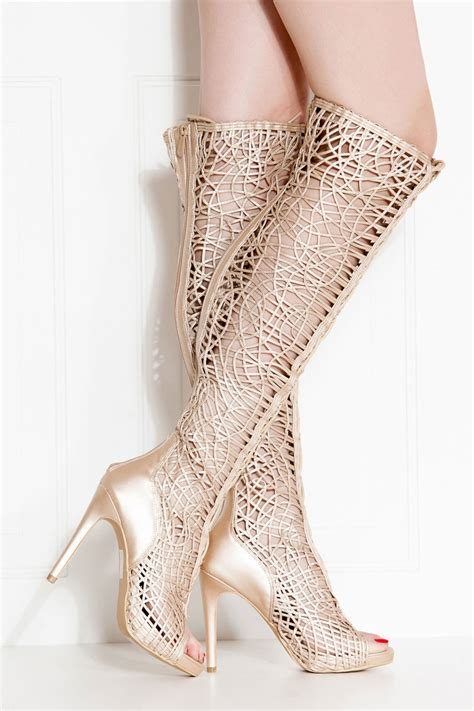 Yh Heels 2 gold faux leather lace up open toe thigh high boots