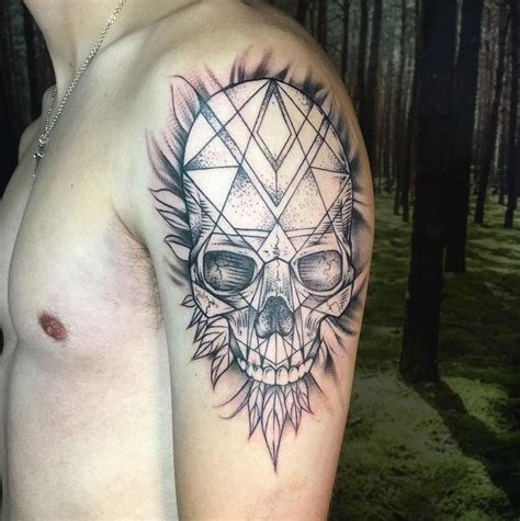 tattoo geometric instagram geometric skull instagram michaelbalesart by michael