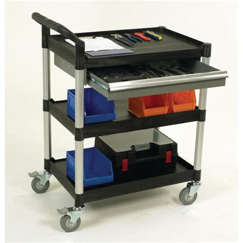 plastic tool cart with drawers 3 shelves utility tool trolley w one drawer open sided
