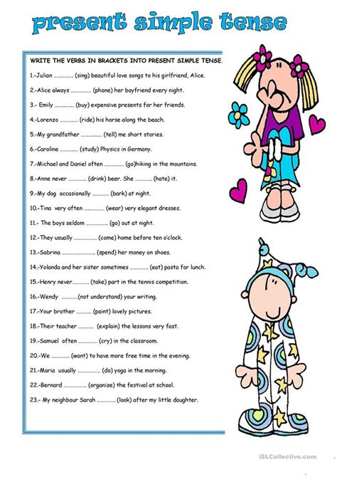 Simple Present Tense Worksheets by Present Simple Tense Worksheet Free Esl Printable