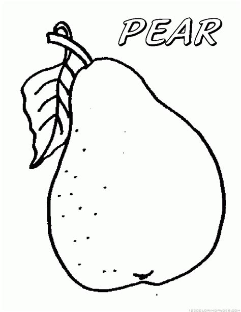 pear coloring page cartoon pear coloring page 1