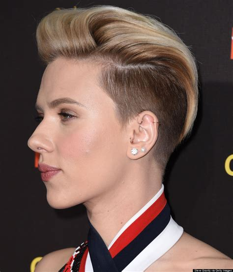 why scarlett johansson cut hair scarlett johansson s razed undercut is glorious