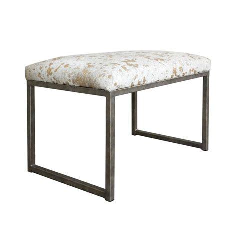 Cowhide Benches - embossed metallic splash cowhide bench on iron