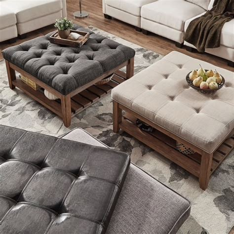 tufted ottoman coffee table idealdriveways