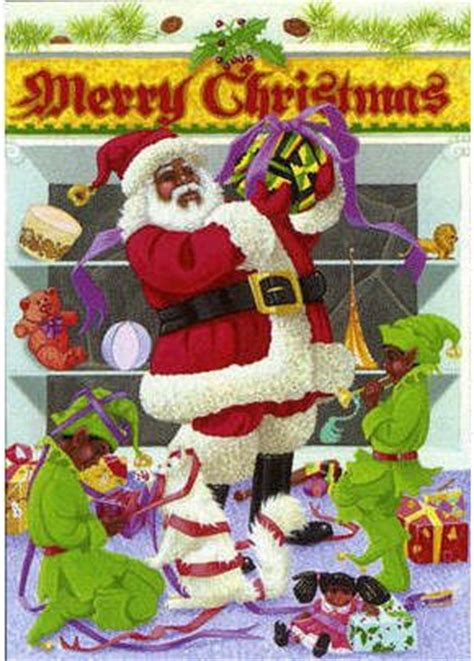merry christmas black santa claus afrocentric christmas cards  carole joy creations