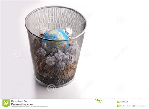 Wastepaper Basket Planet Trashed In A Paper Dustbin Stock Image Image Of