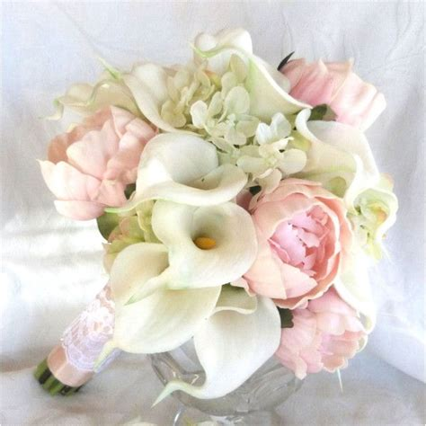 real touch calla and peony bridal bouquet with silk