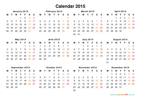 2015 calendar template pdf 2015 calendar with week numbers printable