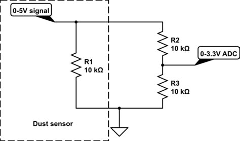 resistor divider 5v to 3 3v level shifting 5v signal to 3 3v using voltage divider where source has 10k resistor to ground