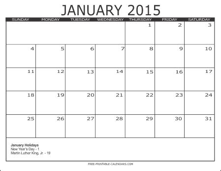 printable month calendar january 2015 2015 free printable calendars free printable calendars