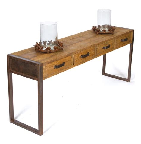 Reclaimed Wood Console Table Hawthorne Rustic Reclaimed Wood Iron Console Table Kathy Kuo Home