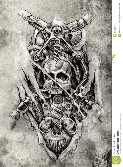 tattoo art sketch of a machine gears and skull stock