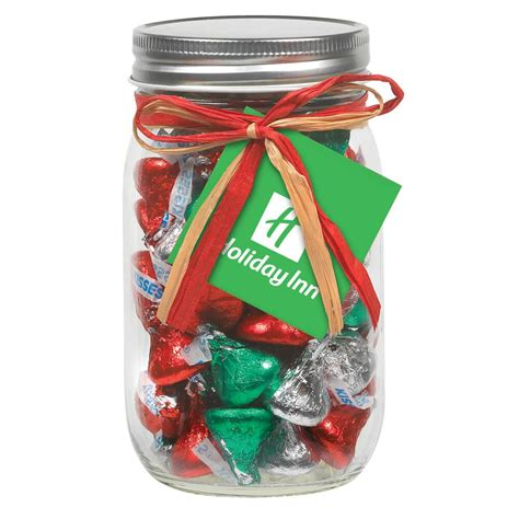 holiday hersheys kisses   oz mason jar  raffia bow positive promotions