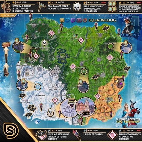 fortnite week 4 challenges fortnite sheet map for season 7 week 4 challenges