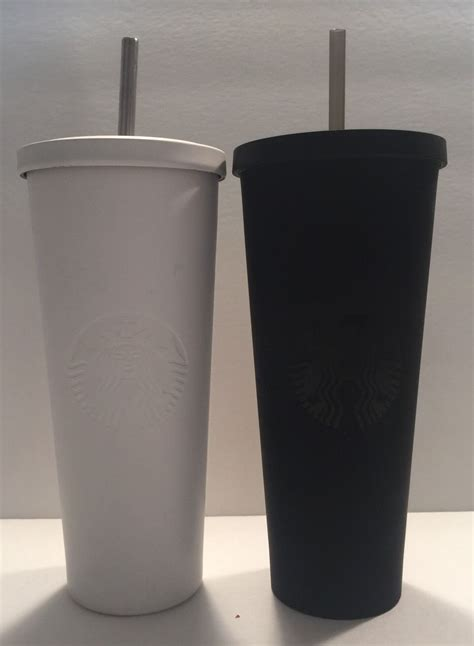 Starbucks Tumbler Black Mate Cold Cup Stainless Steel Logo starbucks black white matte venti 24oz stainless cold tumblers sraws new ebay