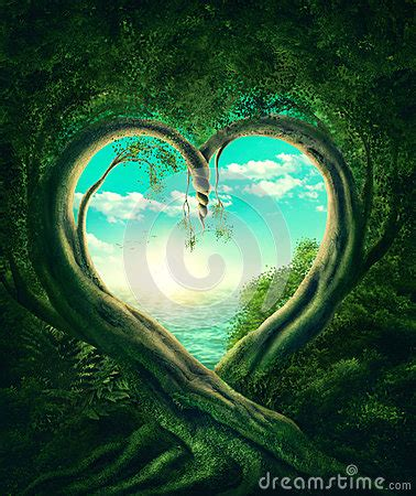 trees forming  heart stock illustration image