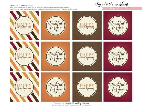 printable tags for thanksgiving free thanksgiving printables from three little monkeys
