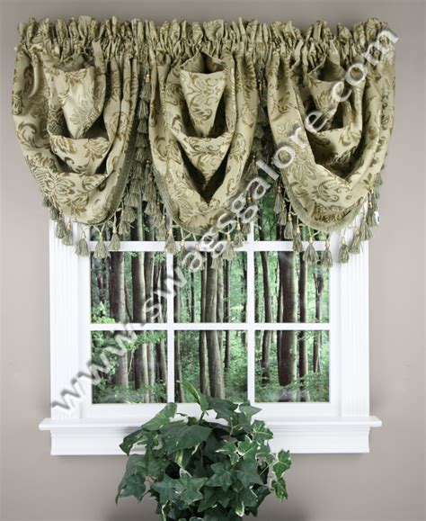 Swags Galore Valances Tiffany Waterfall Jacquard Valance Burgundy Luxury