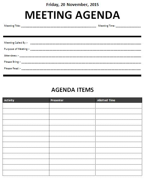 15 Meeting Agenda Templates Excel Pdf Formats Meeting Schedule Template