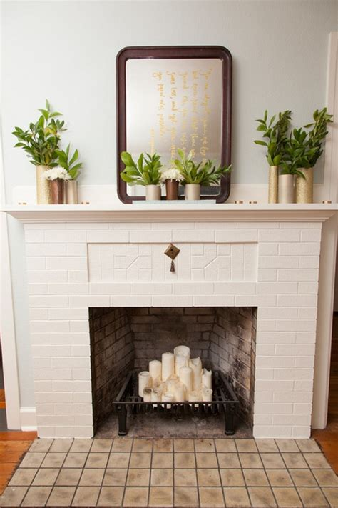 ideas to decorate the fireplace in summer room