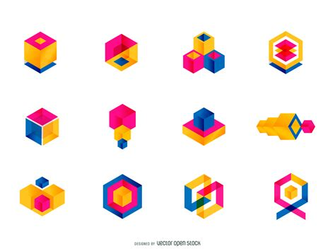 geometric pattern logos colorful geometric logo set vector download