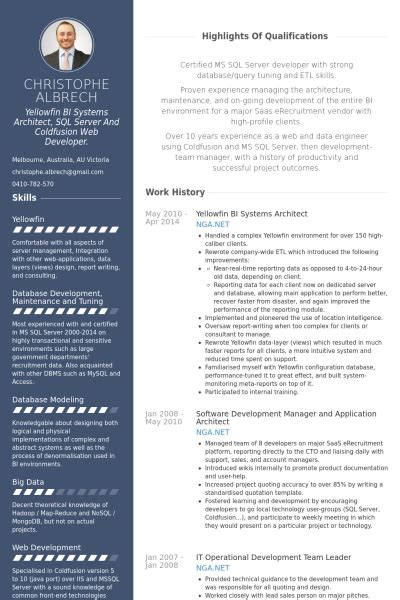 Architect Resume Sles Visualcv Resume Sles Database Architecture Resume Template