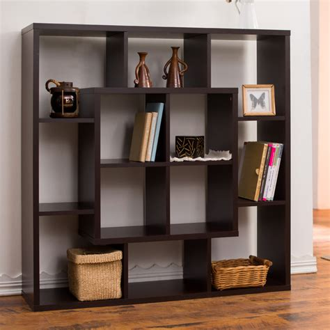 room divider with shelves furniture of america aydan modern square walnut bookshelf