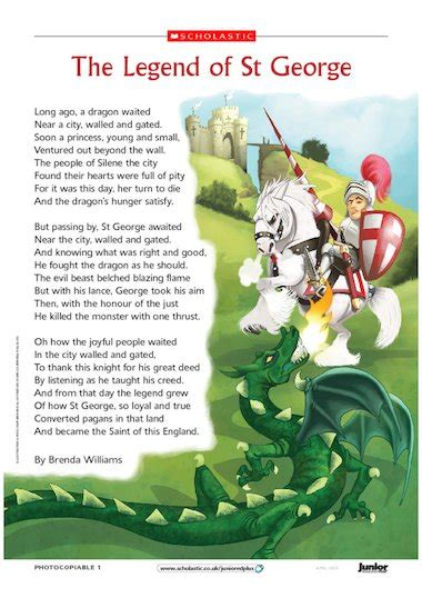 the legend of st the legend of st george poem primary ks2 teaching
