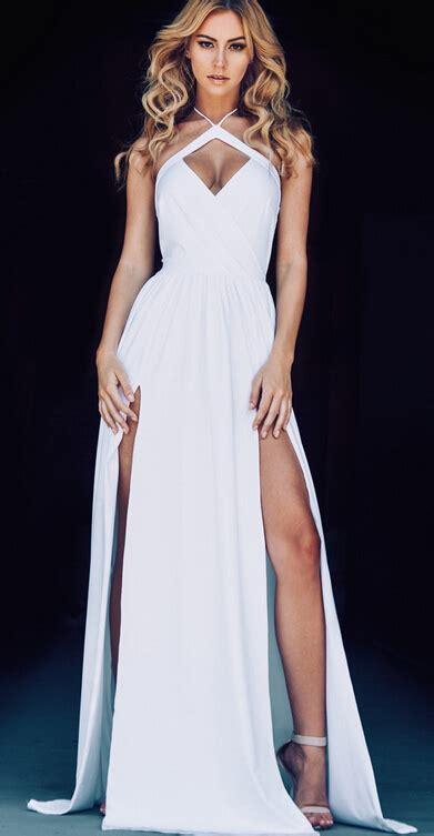 754 Dress Open Sude Halterneck 2016 halter neck white prom dresses ruched side slits open back evening gowns dresses
