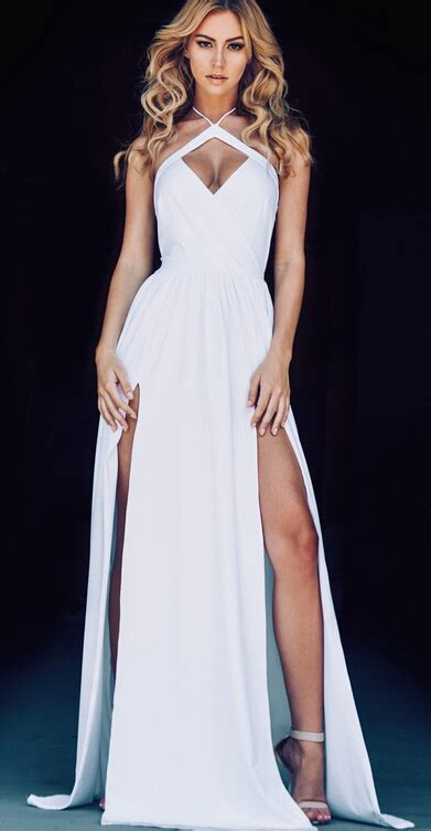 2016 halter neck white prom dresses ruched side slits open back evening gowns dresses