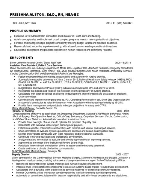 Chief Nursing Officer Cover Letter by Chief Nursing Officer In Usa Resume Prissana Alston Docshare Tips