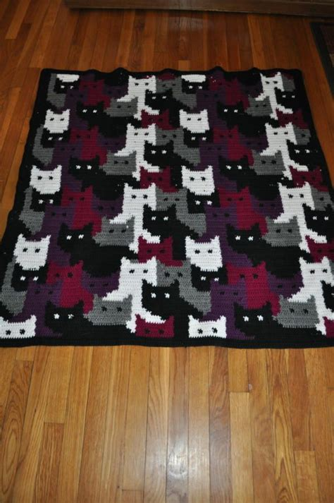 cat blanket pattern colorwork with cats crochet creation by transitoria i