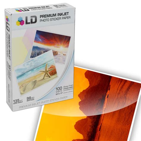 printable sticker paper glossy ld glossy inkjet photo paper with sticker 8 5x11 quot 100