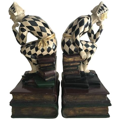 unique bookends unique pair of harlequin bookends for sale at 1stdibs