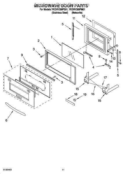 whirlpool microwave parts diagram parts for whirlpool ykehv309pm01 microwave door parts
