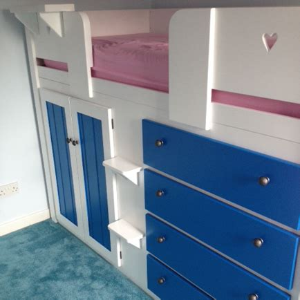 Cabin Bed With Wardrobe And Drawers 4 drawer cabin bed with royal blue drawers doors aspenn