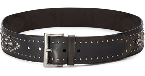 prada studded wide leather belt in black lyst
