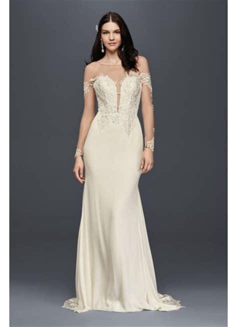 Sale Longdres Crep Kotak crepe wedding dress with lace inset davids bridal