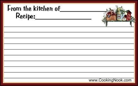 country recipe cards templates 8 best images of printable recipe cards whole page free