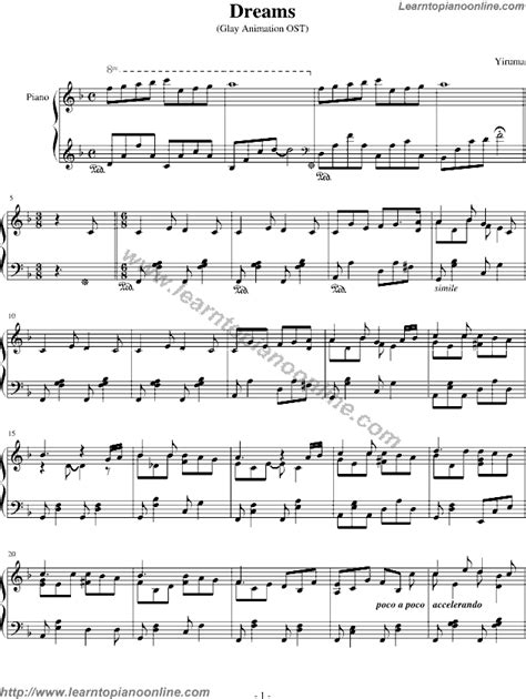 Yiruma - Dream (Glay Animation OST) Free Piano Sheet Music