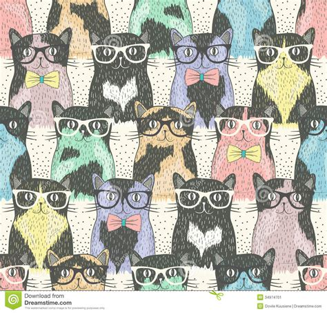 pattern roller cat seamless pattern with hipster cute cats stock vector